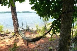 My Hammock set up by the lake